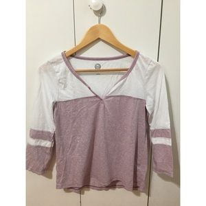 SO 3/4 T-shirt - white & pink - woman size small